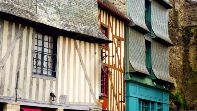 front view of french colombage houses - french architecture stock videos & royalty-free footage