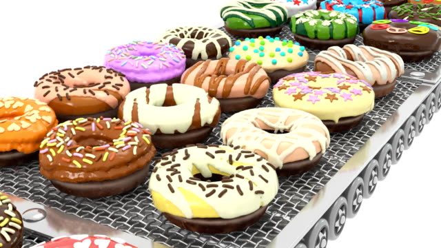 Front View of Loopable Colorful Doughnuts on Conveyor Belt (3d render) video