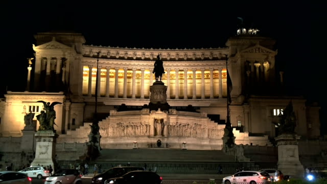 front view of  rome's victor emmanuel ii monument at night video