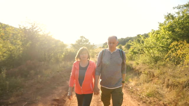 Front view of senior couple trekking on sunny autumn day Front view of senior couple trekking on sunny autumn day baby boomers stock videos & royalty-free footage