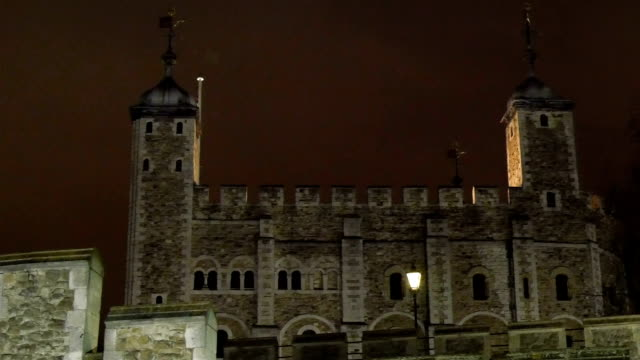 Front view of the huge Tower of London video