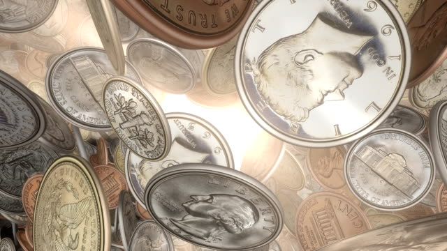 Front View, Spinning American Coins, through Sunlight (Loop) video