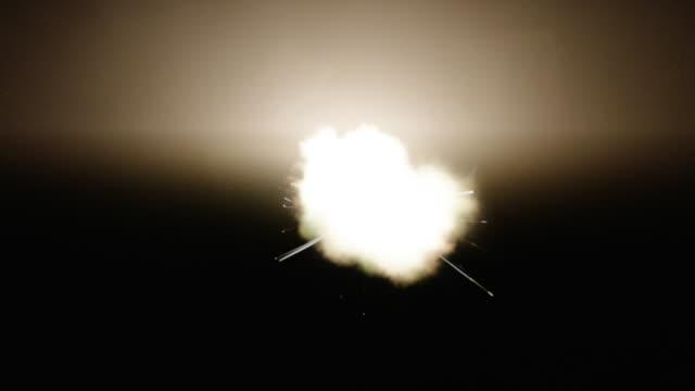 Frontal muzzle flash from shot in black gun chamber. Flashing gunfire slow-motion.