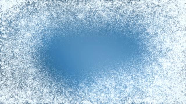 frost forming on blue. - иней замёрзшая вода стоковые видео и кадры b-roll