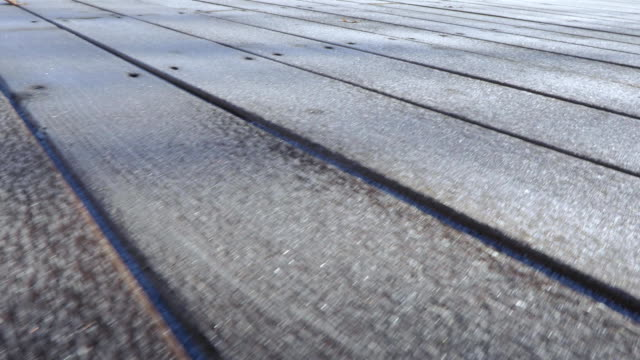 Frost on wooden boards video