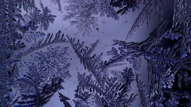 Frosty pattern melts on the glass video