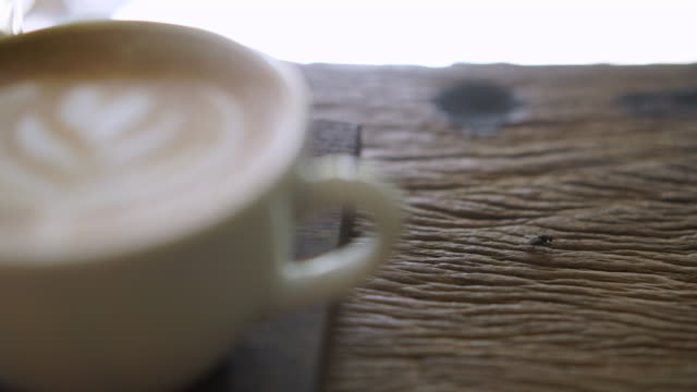 Frothy Coffee With Latte Art And Fly On Table