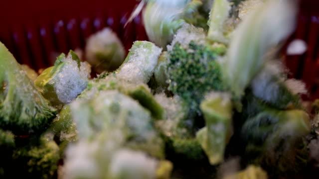 frozen broccoli - broccolo video stock e b–roll
