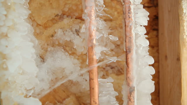 Frozen Cracked Copper Water Pipe Leaking into House Basement video