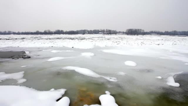 Frozen Danube river video
