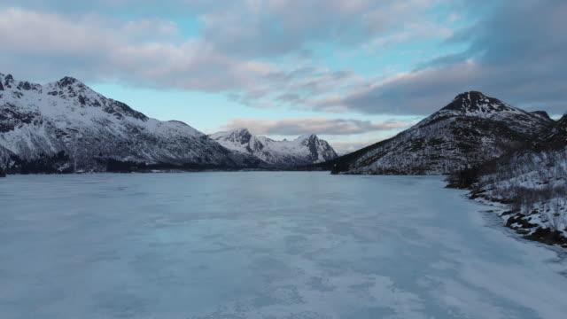 Frozen lake filmed on drone near Svolvaer in Norway in the Lofoten Islands.