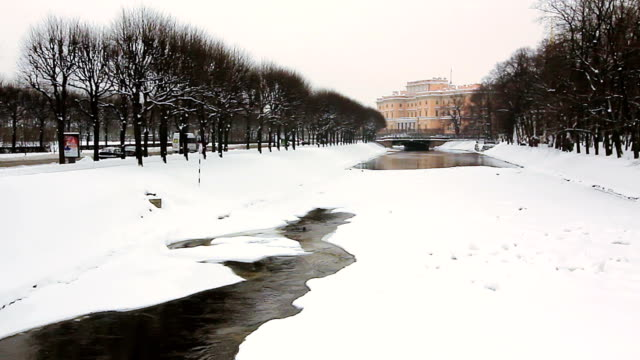 Frozen Moyka River and Mikhailovsky Castle video