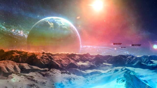 vídeos de stock e filmes b-roll de frozen planet. starships above planet surface - surrealismo