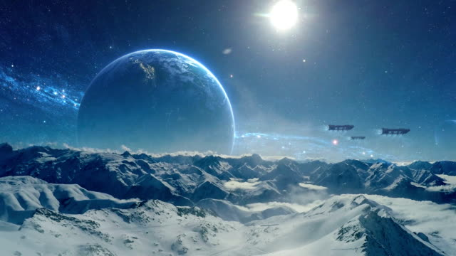 frozen planet. starships above planet surface - alieno video stock e b–roll