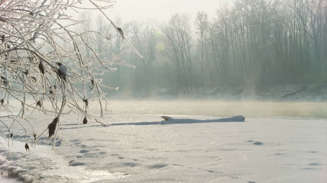HD DOLLY: Frozen River At Dawn video
