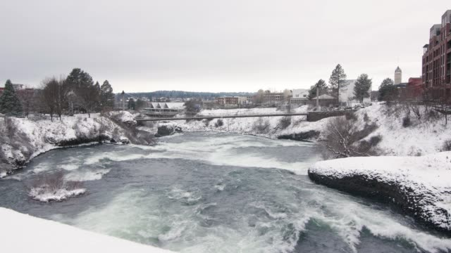 Frozen River Flowing Ice Cold Water in Winter Cityscape video