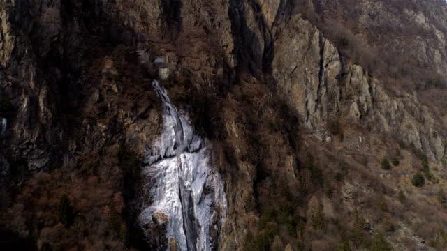 Frozen waterfall far approach - Aerial 4K video