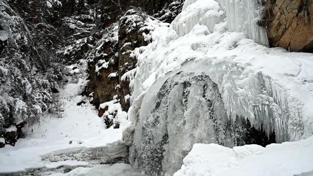 Frozen waterfall. video