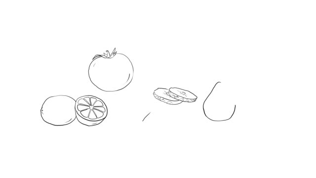 Fruit assorti drawings. Abstract vegetarian food background. video