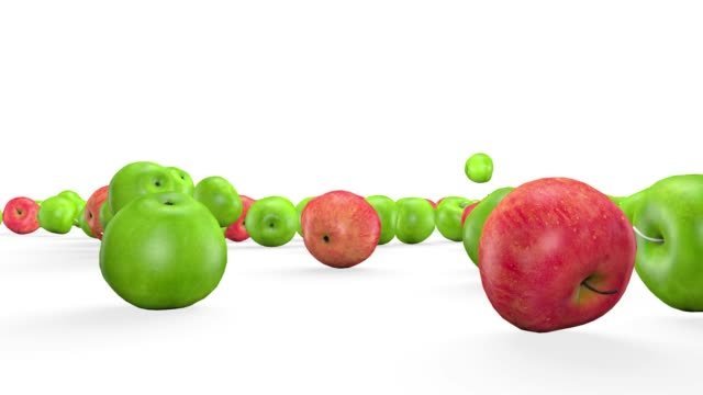Fruit mix, animated fruit movement, 3D animation.