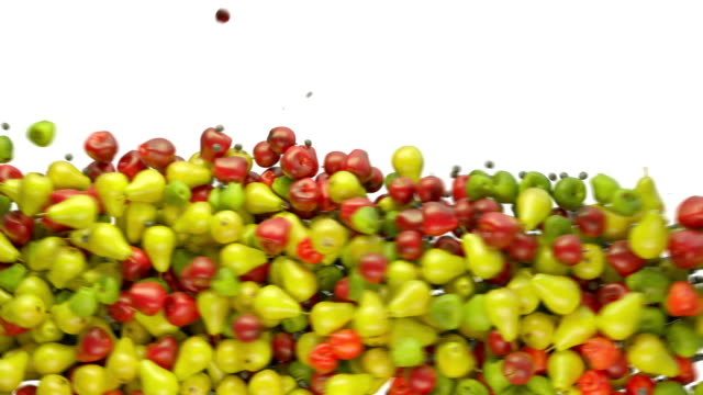 Fruit mix: apples and pears flow with slow motion video