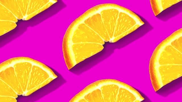 fruit pattern on color background. - pop art video stock e b–roll