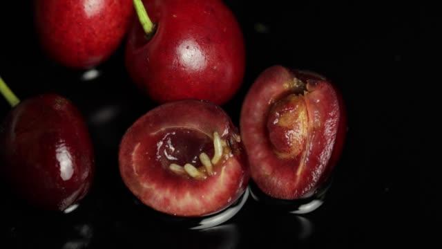 Fruit worms in rotten cherry, black background. Larva of cherry flies. Closeup