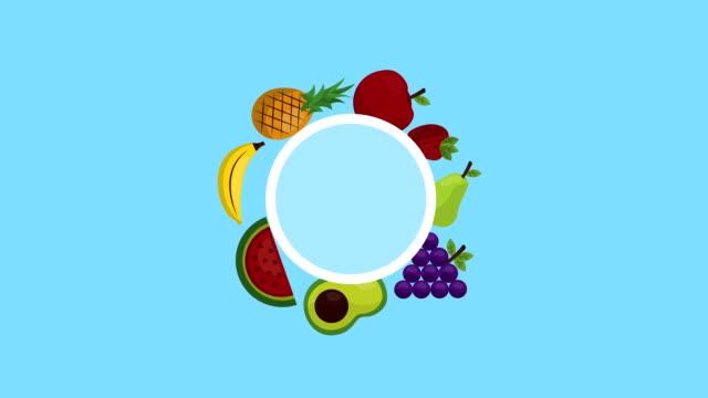果物や野菜の健康食品 - ぶどう イラスト点の映像素材/bロール