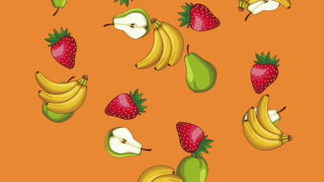 Fruits falling background HD animation Bananas strawberries and pears falling over orange background high definition animation colorful scenes ingredient stock videos & royalty-free footage