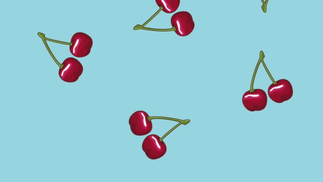 Fruits falling background HD animation Cherries falling over blue background High definition colorful scenes animation cherry stock videos & royalty-free footage