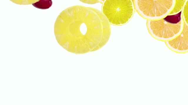 fruits falling on color background
