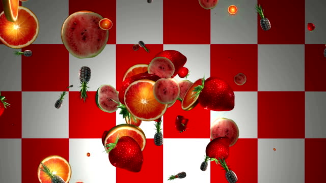 Fruits flying out of the red and white background. 3D video