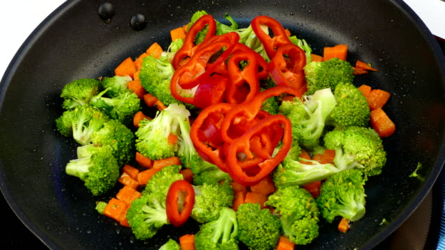 fry vegetables in oil in a frying pan video
