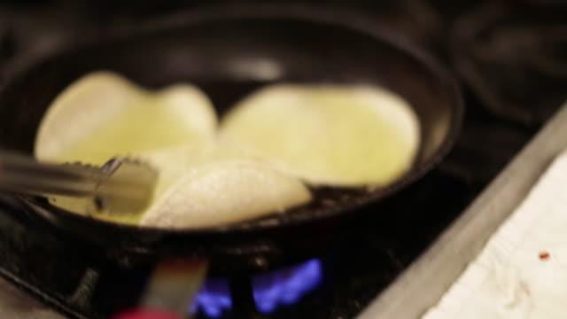 Frying a Tortilla in an Iron Skillet