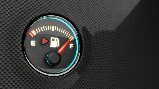 Fuel indicator. HD version. Fuel indicator, showing fuel level decreasing  quickly. Loopable. less than 10 seconds stock videos & royalty-free footage