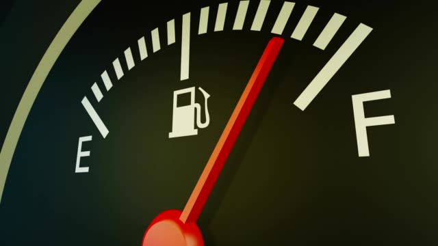 Fuel indicator of a car going down, 3d animation