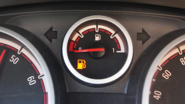 Fuel level sensor in the car. Empty tank truck. Signal of reserve fuel in the tank.