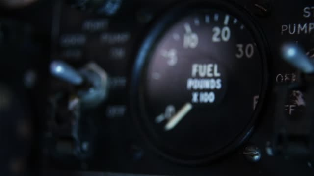 Fuel Tank Level Gauge In An Old Airplane.