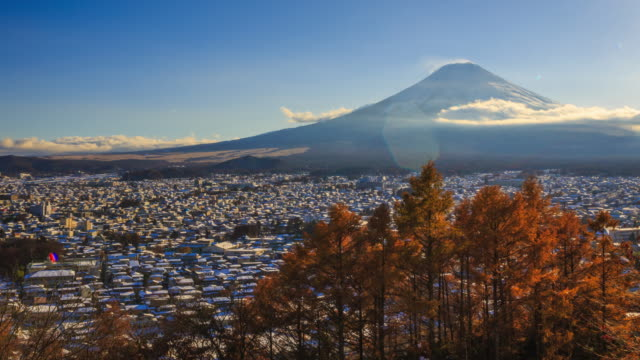 Fuji with snow at autumn season in Japan. video