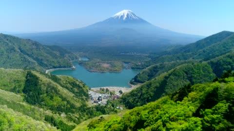Fujiyama Helicopter Shot for Mt.Fuji in Lake Shoji japan stock videos & royalty-free footage