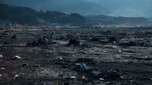 Fukushima, Japan - 03/11/2011 : destroyed city with only ruins left in the streets after the tsunami