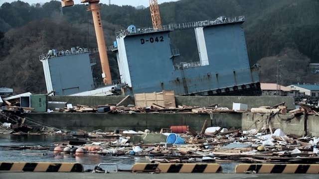 Fukushima, Japan - 03/11/2011 : ruins of the harbor are everywhere, everthing is destroyed after the tsunami