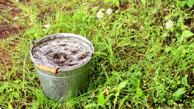durchgehender eimer von regenwasser für den sommer - eimer stock-videos und b-roll-filmmaterial