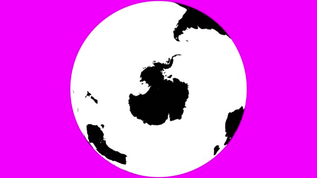 Full Earth Globe with Black Continents and White Waters