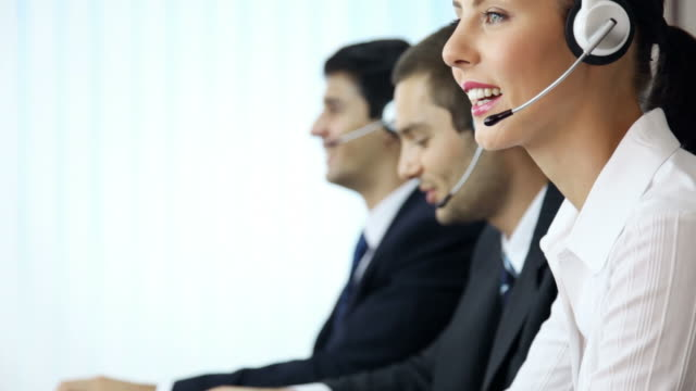 Full HD: Call center phone operators working video