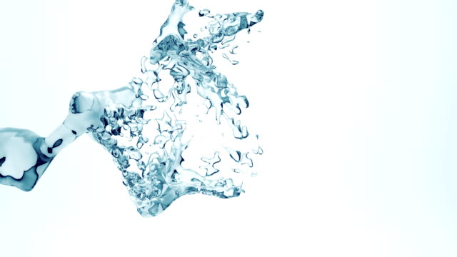 Full hd slow motion flowing water isolated on white video