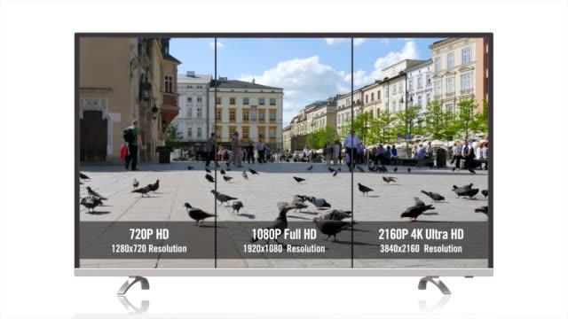 full hd vs ultra hd vs hd 720p comparison screen tv video resolutions digital - ultra high definition television filmów i materiałów b-roll