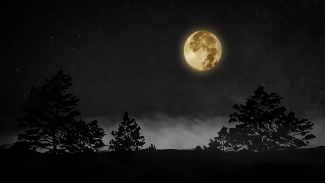 Full Moon And Misty Night, 4K Video Full Moon And Misty Night, 4K Video mountains in mist stock videos & royalty-free footage