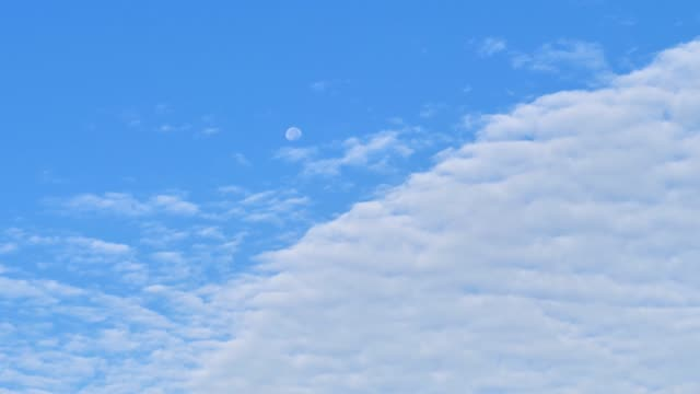 Full moon hanging on blue sky with white clouds moving slowly, 4k footage, time lapse video.