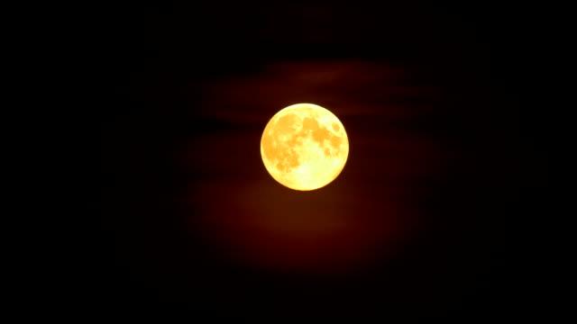 Full moon in the mist on dark night sky background video